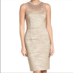 NEW Eliza J Nude Metallic Sheath Dress Size 12P